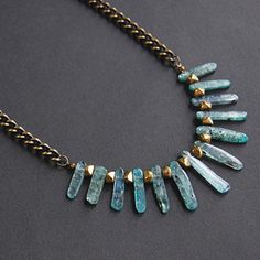 Blue Kyanite and Brass Spiky Statement Necklace by Maja Olender #Jewelry.