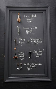 Hooks with Handwritten Chalk Signage