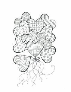 Heart balloons with patterns colouring in, mandala coloring, coloring books, easy mandala drawing Heart Coloring Pages, Colouring Pages, Adult Coloring Pages, Coloring Books, Heart Doodle, Doodle Art, Zentangle Patterns, Embroidery Patterns, Zentangles