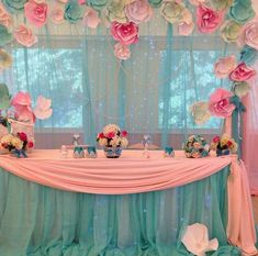 Pretty Paper flowers backdrop for a party