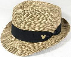 4a3782f8226096 Disney Parks Fedora Straw Hat Straw Fedora, Fedora Hat, Mickey Mouse And  Friends,