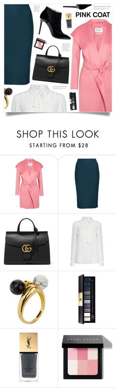 """""""Hey, Girl: Pretty Pink Coats"""" by marina-volaric ❤ liked on Polyvore featuring MaxMara, Gucci, TIBI, Elie Saab, Noir Jewelry, Yves Saint Laurent, Bobbi Brown Cosmetics and pinkcoats"""