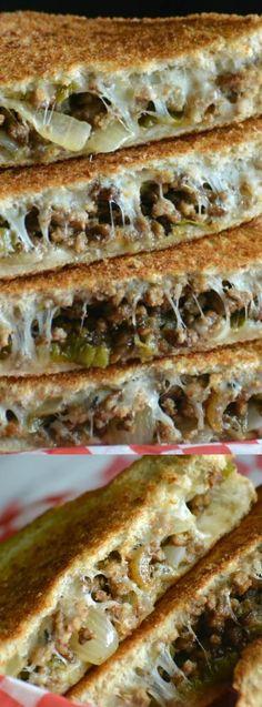 Ground beef philly cheesteak grilled sandwiches