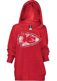 Kansas City Chiefs Womens Hooded Sweatshirt - Red Chiefs Brushed Fleece Long Sleeve Hoodie http://www.rallyhouse.com/shop/kansas-city-chiefs-5th-and-ocean-88880084 $54.99