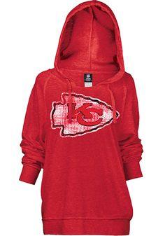Kansas City Chiefs Womens Hooded Sweatshirt - Red Chiefs Brushed Fleece Long Sleeve Hoodie http://www.rallyhouse.com/shop/kansas-city-chiefs-5th-and-ocean-88880084 $54.99