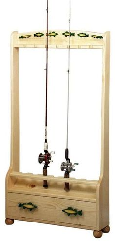 19-W2522 - Fishing Rod Holder Rack Woodworking Plan OR pool stick holder