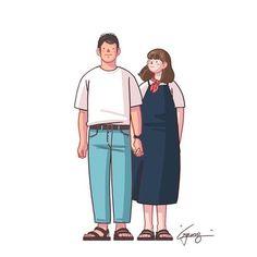 Korean Illustration, Children's Book Illustration, Graphic Design Illustration, Cute Couple Drawings, Cute Couple Art, Cute Couples, C Cassandra Comics, Character Inspiration, Character Design