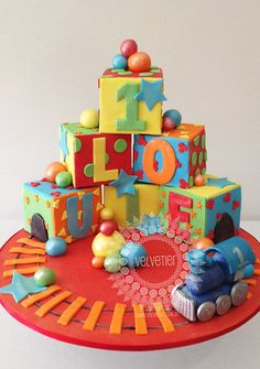 Building block birthday cake, 1st birthday cake, boys birthday cake