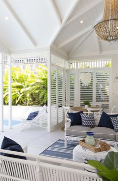 A gorgeous indoor / outdoor space accented in beautiful blue & crisp whites perfect for our Australian climate. Outdoor Areas, Outdoor Rooms, Indoor Outdoor, Outdoor Living, Outdoor Furniture Sets, Outdoor Blinds, Outdoor Stuff, Hamptons Style Homes, Hamptons House