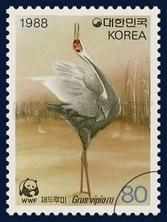 Special Postage Stamps for Wildlife Preservation, white-naped crane, Bird, Light brown, Gray, 1988 04 01, 야생동물보호 특별 1988년 4월 1일, 1529, 재두루미(1), postage 우표