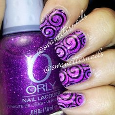 Swirls, glitter and purple - doesn't get much better!  Instagram photo by  swanettesnails