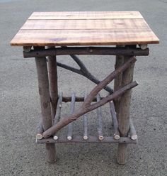 This plank top twig table is hand made by Kentucky craftsman Dan Moffett. Dan has been hand crafting rustic furniture since Each table Handmade Furniture, Rustic Furniture, Cabin Furniture, Rustic Wood, Rustic Decor, Willow Furniture, Sticks Furniture, Rustic Wedding Gifts, Into The Woods
