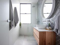 We reveal 4 hot bathrooms in a Sydney renovation Bathroom Renovation Trends, Bathroom Red, Bathroom Flooring, Bathroom Trends, Chic Bathrooms, Bathroom Mirror, Timber Vanity, Shabby Chic Bathroom, Bathroom Design