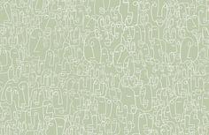 Sage & White Face Wallpaper Mural   Hovia