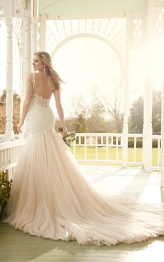 820 Fit and flare wedding dress with lace bodice by Martina Liana