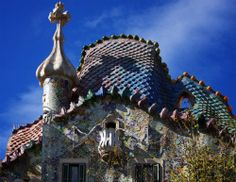 Casa Batllo in Spain: the roof is compared to a reptilian creature, the backbone of a gigantic dinosaur.