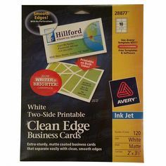 "Avery White Two-Side Printable Clean Edge Business Cards Ink Jet 2"" x 3 ½ """