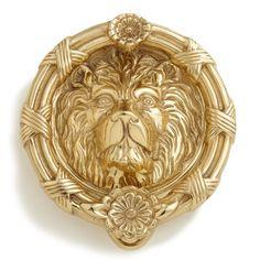Felidae Lion Brass Door Knocker - Polished Brass