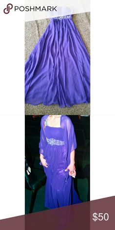 Purple formal gown Dark purple gown with cute design on waistband. Only worn once! Dresses Strapless