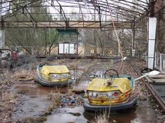 bumper cars at an abandoned amusement park