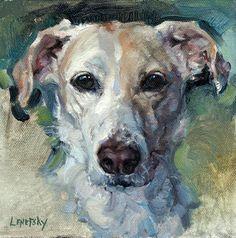 Custom Petrait dog art oil painting on canvas.  Alla Prima pet portrait by Heather Lenefsky Art.