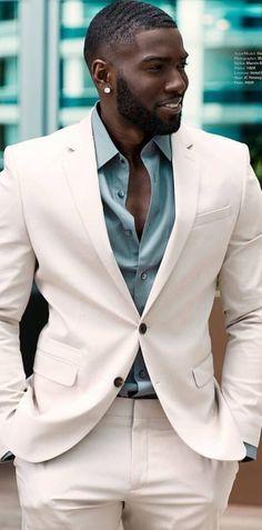 Donnell Blaylock aka Donny Savage. Mens Fashion | #MichaelLouis - www.MichaelLouis.com Black Men In Suits, White Suits, Fine Black Men, Black On Black Suit, Handsome Black Men, Black Boys, Handsome Men In Suits, Black Men Beards, Fashion 101