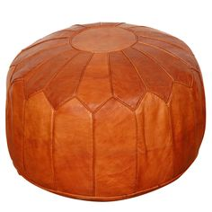 Large Moroccan Leather pouf