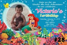 Ariel The Little Mermaid Birthday Party Invitation with Photo You Print  Digital