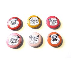 Pug magnet set in valentines colors by GoodAfternoonan on Etsy