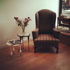 Our bespoke gentleman's chair made by the wonderful Urban Upholstery and occassional tables by Casamania
