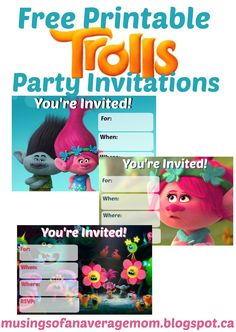 Free printable trolls party invitations