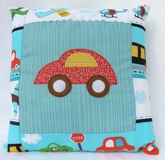 Red car Cushion / Pillow for boys in car themed by LaLaLaDesigns, $25.00