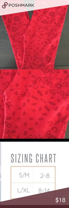 NWT! LuLaRoe Leggings NWT! L/XL Adorable print leggings. 92% Polyester and 8% Spandex Ruby Red Color LuLaRoe Bottoms Leggings