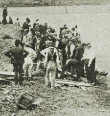 "TITANIC SURVIVORS ~ ""As the bodies wash ashore"". I suspect they were being brought ashore by a salvage ship."
