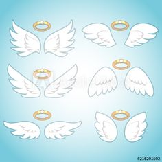 Flying angel wings with gold nimbus. Isolated Illustration of holy symbol collection - Buy this stock vector and explore similar vectors at Adobe Stock Cartoon Angel Wings, Angel Wings Drawing, Baby Angel Wings, Holy Symbol, Pin Up Pictures, Wings Design, Kawaii Drawings, Cute Illustration, Art Sketches