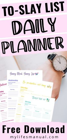 Grab the free Planner and Calendar to help you organize your daily schedule so you can achieve your daily goals.  You Will Receive the To Slay List Daily Planner (Sunday-Monday) and  Monthly Lined Calendar. Using this free goal planner you will be able to set your top 3 goals and break down your daily to-do list by morning, afternoon and before bedtime schedules. Click to see more. #goals #to-do #freeplanner #dailygoals #settinggoals #schedule #productivity #freeprintables #dailyplanner