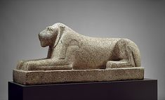 Recumbent Lion. Old Kingdom Dynasty. ca. 2575–2450 B.C. Egypt. Granite This imposing lion probably guarded a pyramid-age sanctuary. The most powerful predator of the steppe bordering the Nile valley, the lion was a symbol of royalty. The animal–especially the female–also embodied deities. This sculpture is the earliest extant example of monumental size that has been preserved almost in its entirety. It was excavated by the British Egypt Exploration Fund in 1891 southeast of the Fayum oasis.