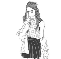 Art girl drawing shared by Mielletanne✿ on We Heart It Tumblr Outline, Outline Art, Outline Drawings, Cute Drawings, Drawing Sketches, Drawing Grid, Drawing Ideas, Girl Drawings, Hipster Drawings