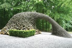Goldsworthy's art takes hours to make, and is made to be temporary, photographed just as it is done. It is in part instillation, in part performance in very real senses - being more than singular photographs but encompassing all which go into them, the doing of them, what befalls them.