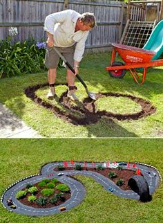 DIY Projects for Kids Inspired by Race Car Tracks 2019 Great way to get them playing outdoors! The road is cement which has been painted black. The post DIY Projects for Kids Inspired by Race Car Tracks 2019 appeared first on Backyard Diy. Diy Projects For Kids, Outdoor Projects, Diy For Kids, Crafts For Kids, Kids Fun, Backyard Projects, Garden Projects, Project Projects, Cool Kids Toys