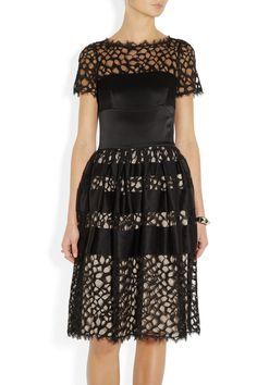 Temperley London|Silk-blend satin and lace dress|NET-A-PORTER.COM