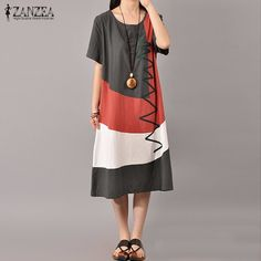 Hot Sale ZANZEA Women Dress 2016 Summer Sexy Ladies Short Sleeve Vintage Splice Casual Loose Dresses Vestidos Plus Size