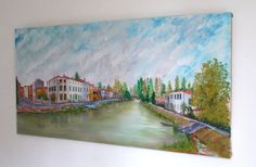 Large French Village River Scene Oil Painting by SeriouslyGorgeous