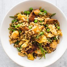 Fried brown rice with pork and shrimp, recipe from America's Test Kitchen