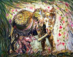 Mother & Baby Elephant Painting Nature Wild Life Love