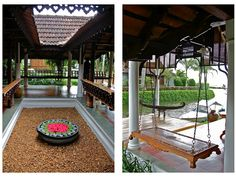 A traditional Kerala courtyard with a traditional Kerala swing. What more can you ask for.