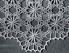 Section of a vintage flower loom table cloth