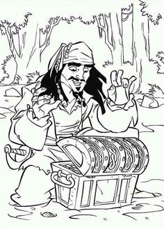 treasure chest captain jack sparrow found a treasure chest coloring page - Pirates Of The Caribbean Coloring Pages