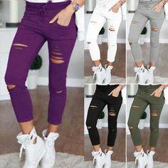 Damen High Waist Ripped Jeans-Look Röhre Skinny Leggins Treggings Jeggings Hosen Womens Ripped Jeans, Denim Look, Ripped Skinny Jeans, Denim Skinny Jeans, Skinny Pants, Skinny Fit, Cargo Pants Women, Slim Pants, Trousers Women