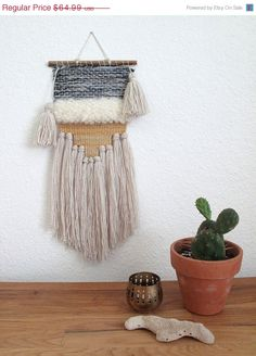 ON SALE Woven Wall Hanging Tapestry Fiber Art by gillistextiles on Etsy https://www.etsy.com/listing/238578087/on-sale-woven-wall-hanging-tapestry